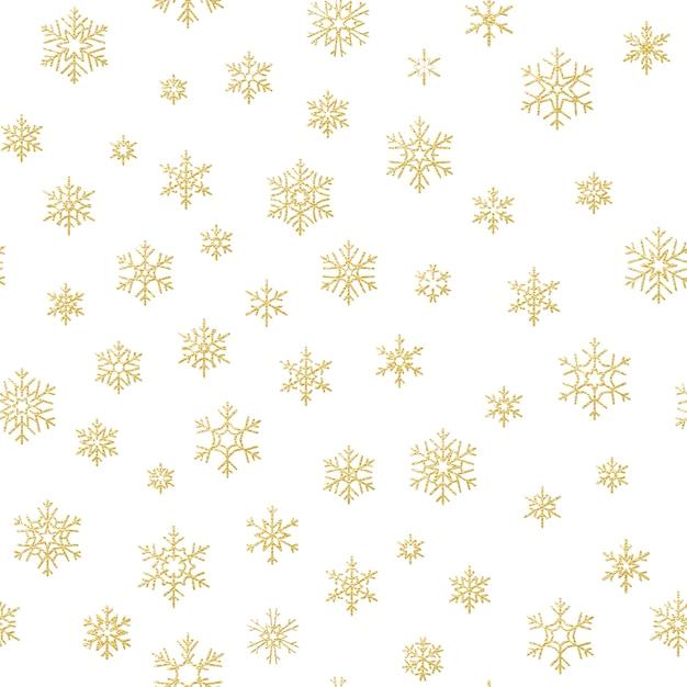 Effetto decorazione di buon natale vacanza. modello senza saldatura fiocco di neve d'oro. Vettore Premium