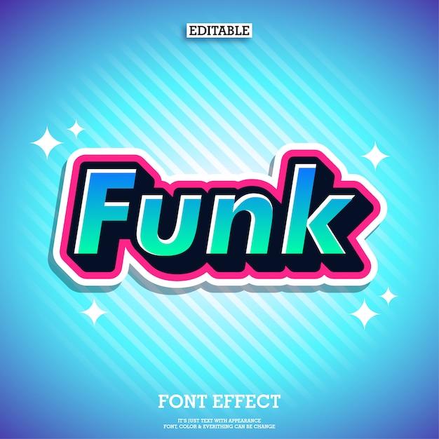 Effetto del testo adesivo funk fresco effetto font moderno Vettore Premium