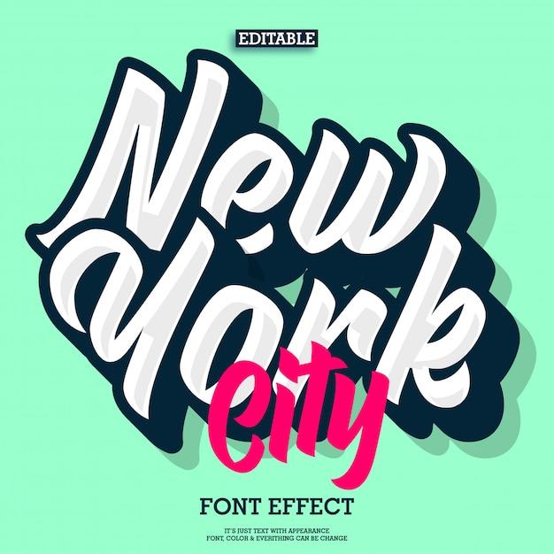 Effetto del testo dell'iscrizione di new york city Vettore Premium