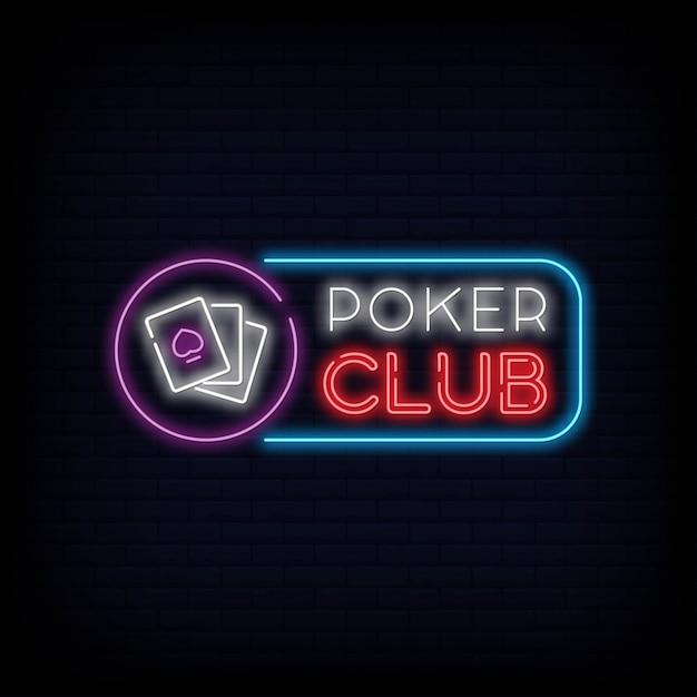 Effetto dell'insegna dell'insegna al neon del poker club Vettore Premium