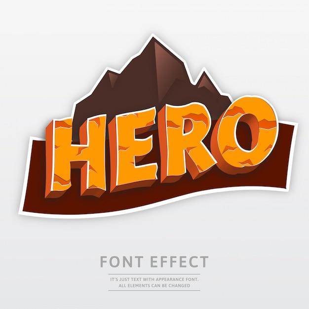 Effetto di carattere montagna 3d logo eroe Vettore Premium