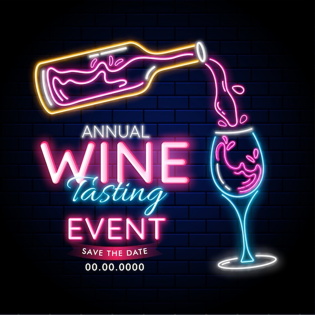 Effetto di illuminazione al neon con bottiglia di vino e bicchiere di bevanda sul fondo del muro di mattoni blu per evento annuale degustazione di vino o concetto di partito. può essere usato come modello di pubblicità o design di poster Vettore Premium