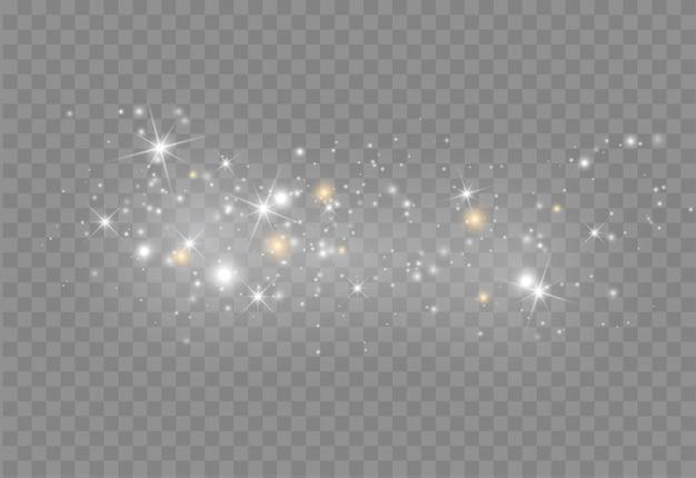 Effetto di luce incandescente con glitter. Vettore Premium