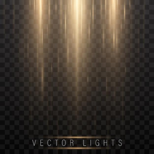 Effetto di luce magica incandescente e lunghi movimenti di fuoco. Vettore Premium