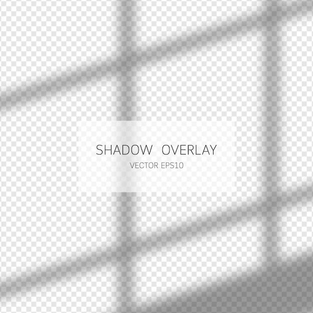 Effetto di sovrapposizione dell'ombra. ombre naturali dalla finestra isolato su sfondo trasparente. illustrazione. Vettore Premium