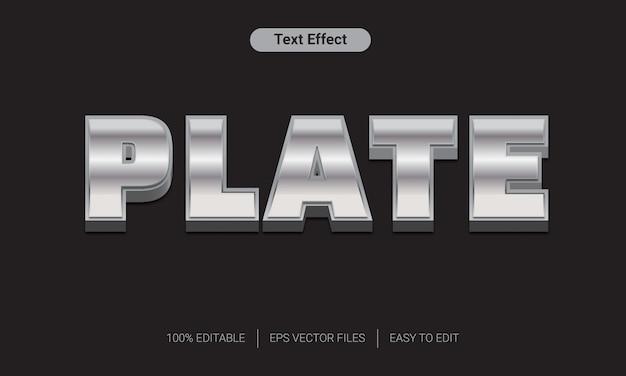 Effetto di stile del testo d'argento di piastra metallica 3d Vettore Premium