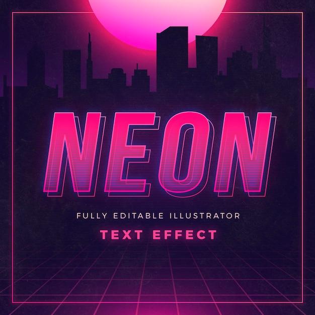 Effetto di testo al neon creativo Vettore gratuito