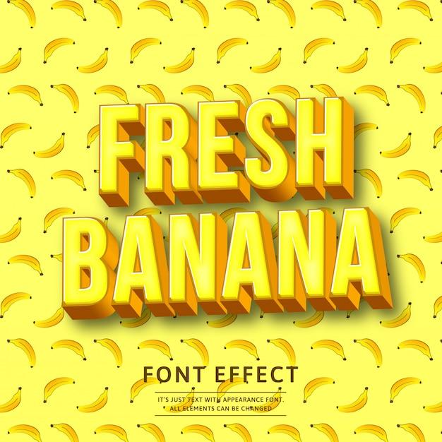 Effetto di testo grassetto 3d banana Vettore Premium