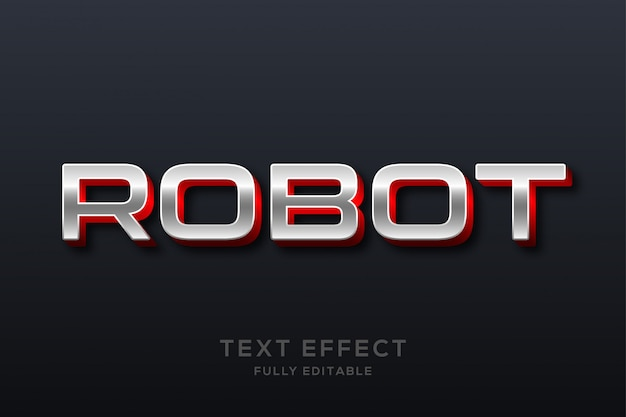 Effetto di testo metallico moderno futuristico Vettore Premium