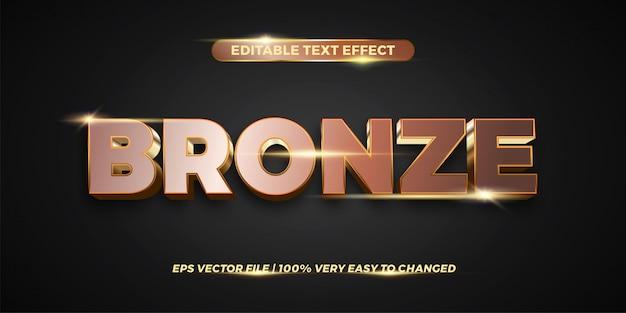 Effetto di testo modificabile - concetto di stile del testo in bronzo Vettore Premium