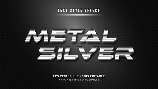 Effetto di testo modificabile. effetto di testo 3d in metallo argento. Vettore Premium