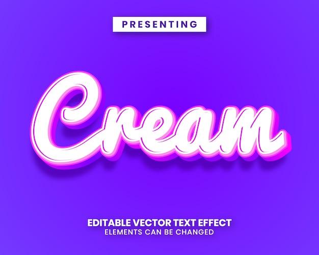 Effetto di testo modificabile in stile crema Vettore Premium