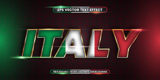 Effetto di testo modificabile, parola italia con bandiera nazionale Vettore Premium