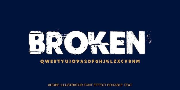 Effetto di testo modificabile rotto Vettore Premium