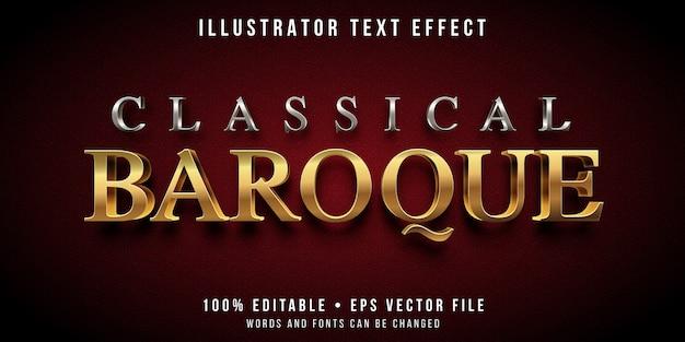 Effetto di testo modificabile - stile barocco argento e oro Vettore Premium