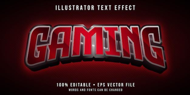 Effetto di testo modificabile - stile del marchio di gioco rosso Vettore Premium