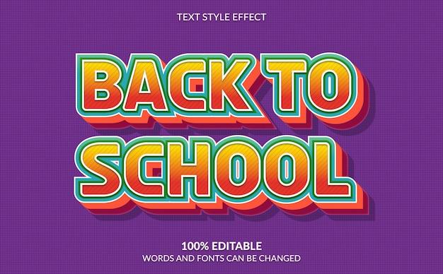 Effetto di testo modificabile, stile di ritorno a scuola Vettore Premium