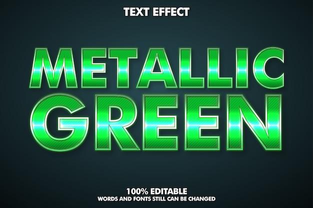 Effetto di testo modificabile, stile di testo verde metallico Vettore Premium
