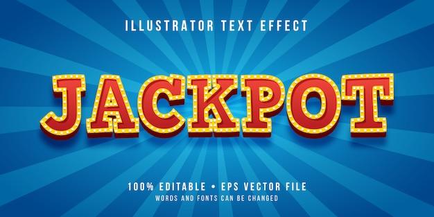 Effetto di testo modificabile - stile vincitore del jackpot Vettore Premium