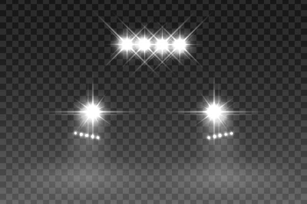 Effetto flash luce auto su sfondo trasparente. illustrazione vettoriale Vettore Premium