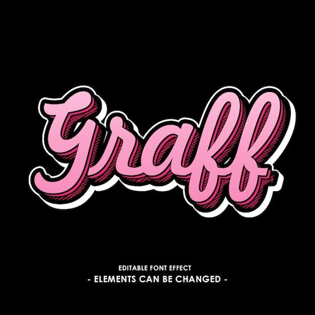 Effetto font graff con ombra colorata Vettore Premium