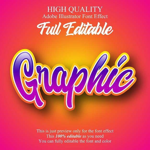 Effetto font modificabile in stile script graffiti Vettore Premium