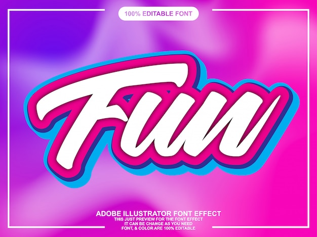 Effetto font script moderno e divertente Vettore Premium
