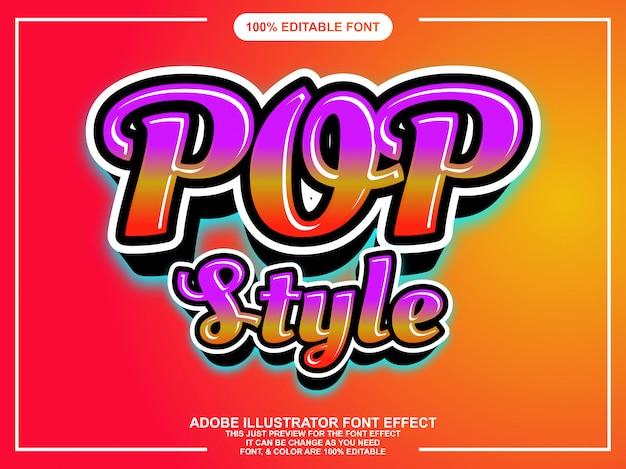 Effetto font stile pop colorato stile script Vettore Premium