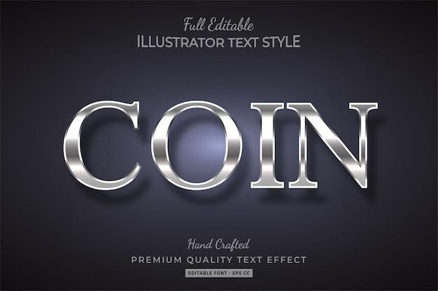 Effetto metallico stile testo e argento premium Vettore Premium