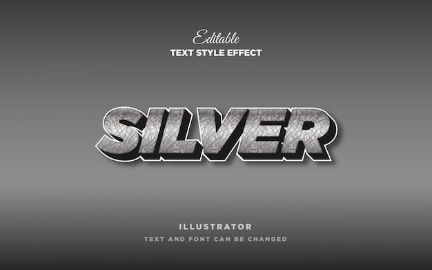 Effetto metallo stile testo argento Vettore Premium