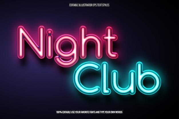 Effetto neon text per il design relativo al night club Vettore Premium