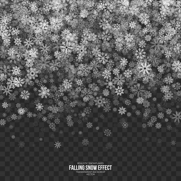 Effetto neve che cade su sfondo trasparente Vettore Premium