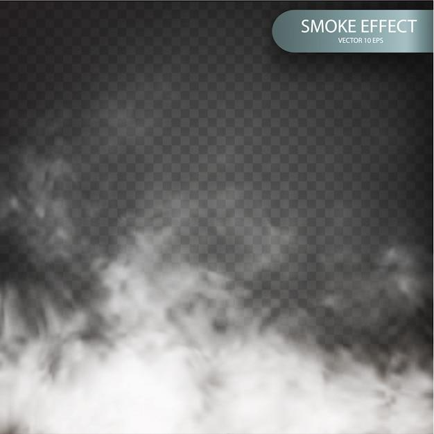 Effetto nuvola su uno sfondo trasparente realistico. Vettore Premium