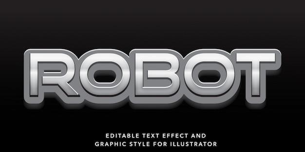 Effetto robot modificabile effetto testo argento Vettore Premium