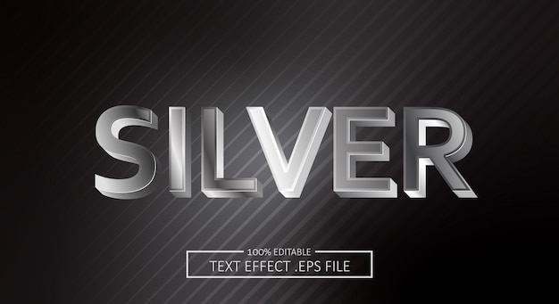 Effetto stile testo argento. stile carattere modificabile Vettore Premium