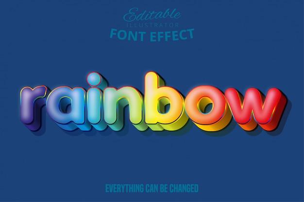 Effetto testo arcobaleno, testo modificabile Vettore Premium