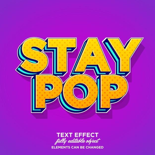 Effetto testo grassetto pop art Vettore Premium