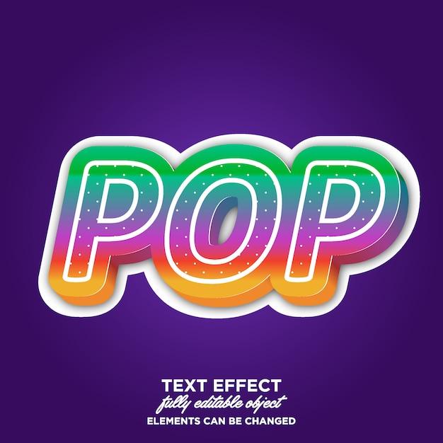 Effetto testo pop art 3d con colori brillanti Vettore Premium