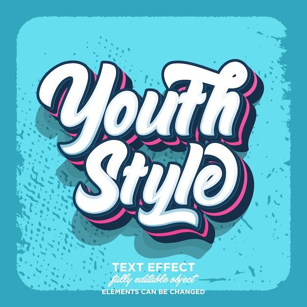 Effetto testo retrò stile giovanile Vettore Premium