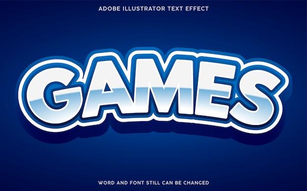Effetto testo stile giochi con colore bianco e blu Vettore Premium