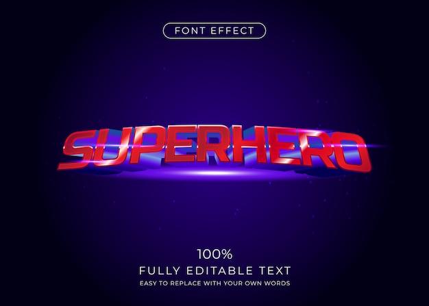 Effetto testo supereroe, stile carattere 3d Vettore Premium