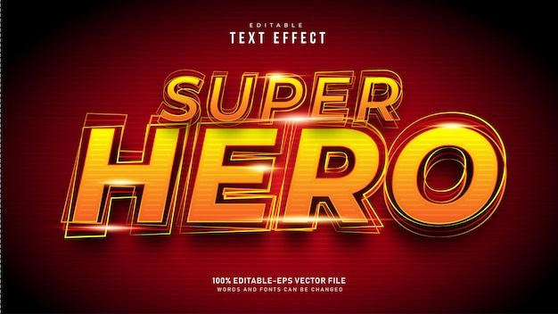 Effetto testo supereroe Vettore Premium
