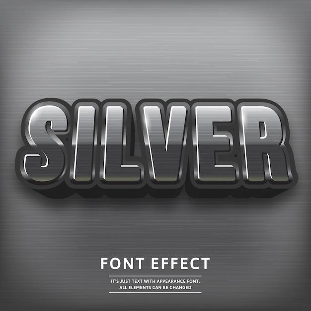 Effetto testo titolo 3d argento lucido. carattere tipografia. Vettore Premium