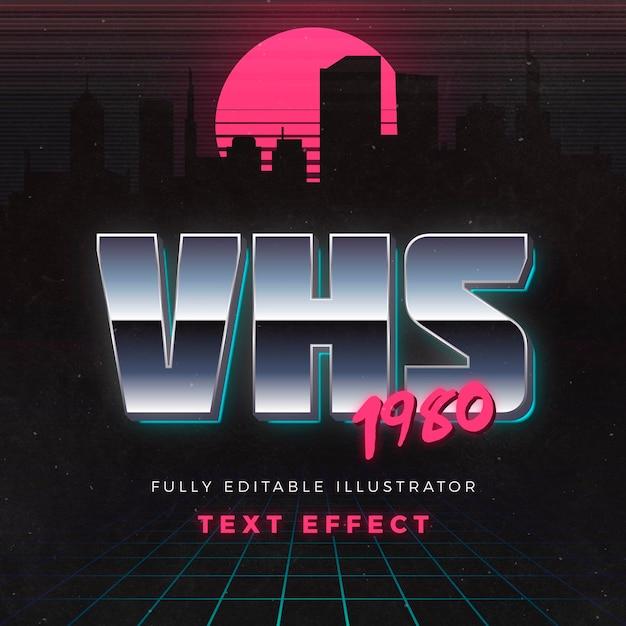 Effetto testo vhs 1980 Vettore gratuito