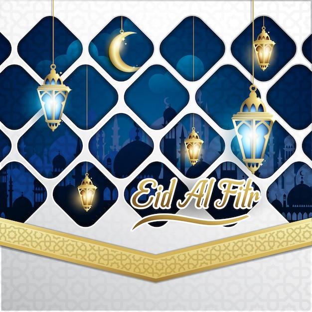 Eid al- fitr background con fanoos lantern & mosque Vettore Premium