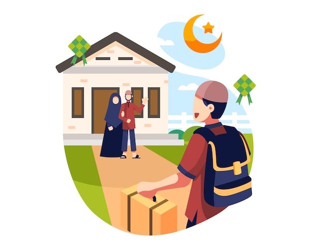 Eid al fitr background un giovane ragazzo visita i suoi genitori durante il ramadan holidays background illustration Vettore Premium