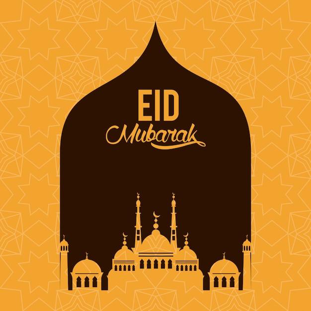 Eid design di mubarak con silhouette moschea Vettore Premium