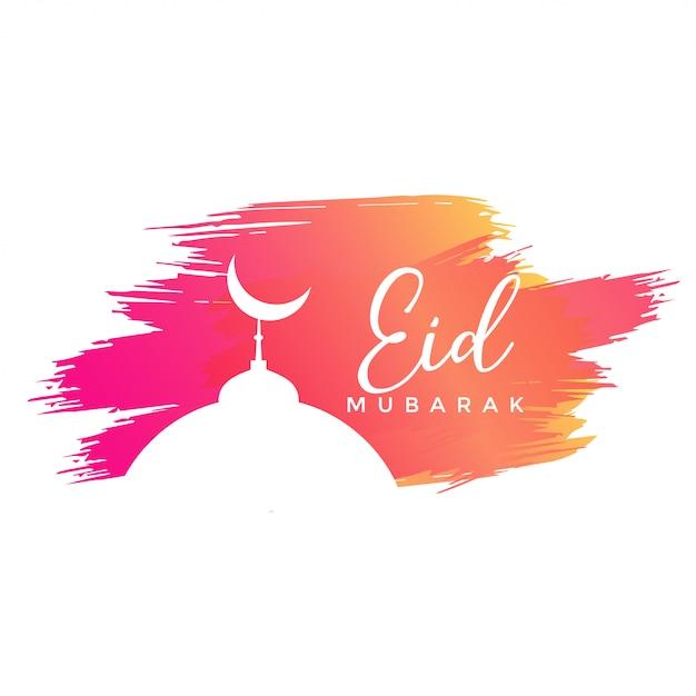 Eid design di mubarak con tratti ad acquerelli Vettore gratuito