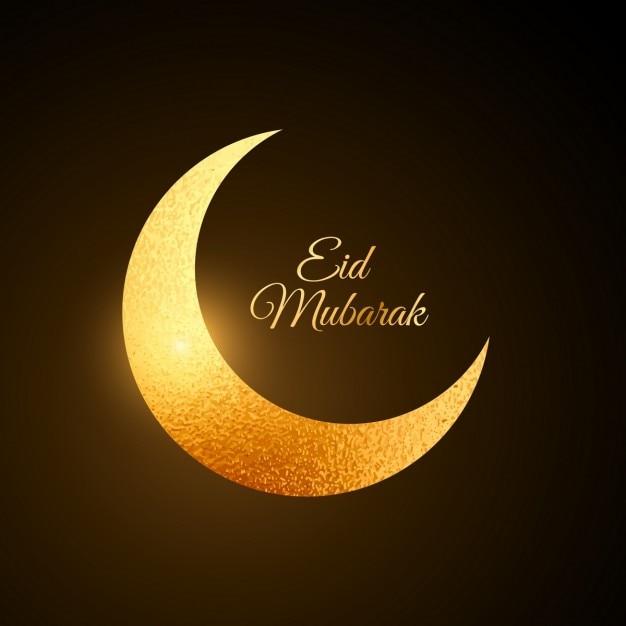 Eid dorato festa sfondo di luna Vettore gratuito