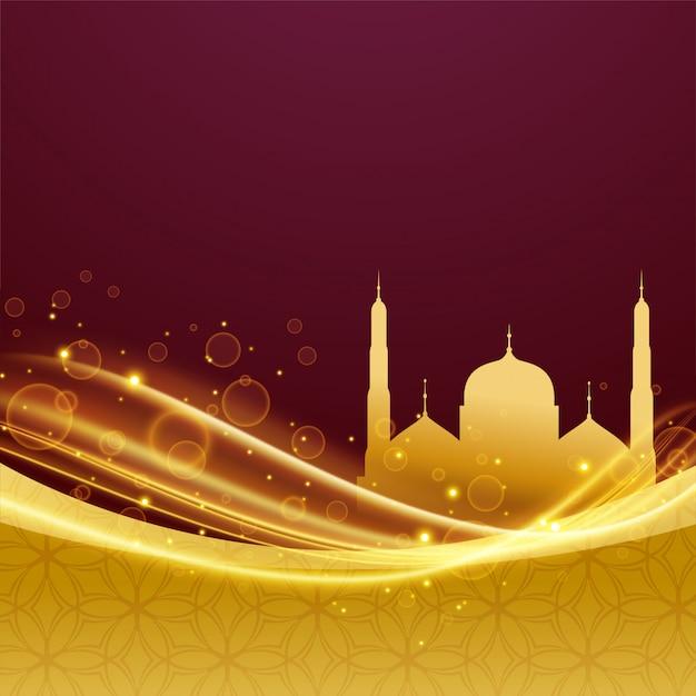 Eid e ramadan festival design con effetto luce Vettore gratuito